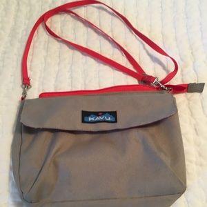 Kavu crossbody handbag, tan with orange trim